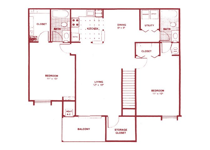 2 Bedroom Upper Floor Plan 4