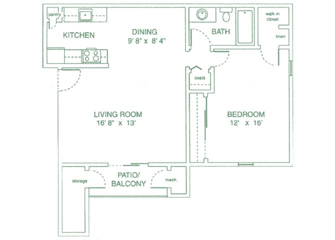 One Bedrooms Floor Plan 1