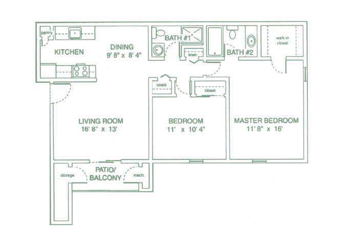 Two Bedrooms Floor Plan 2