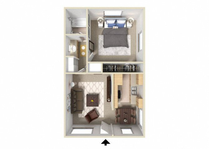 1BD 1BA Floor Plan 1