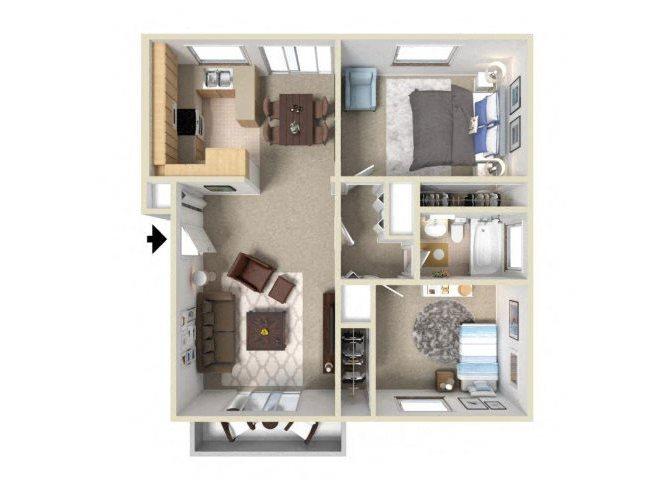 2BD 1BA Floor Plan 2