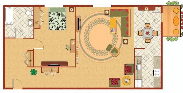 1 Bedroom Deluxe Floor Plan 3