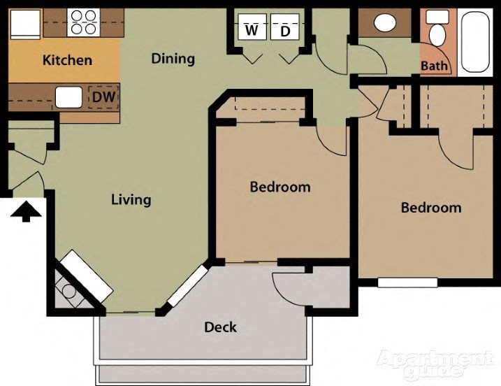 2BD, 1BTH Floor Plan 2