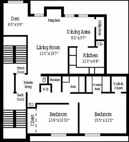 2 Bedroom Deluxe w/ Den Floor Plan 5