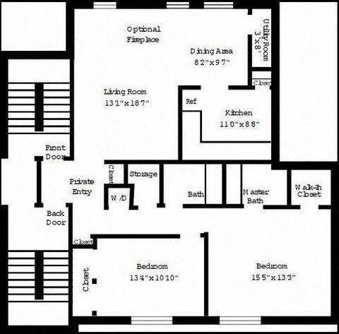 2 Bedroom Deluxe (Furnished) Floor Plan 7
