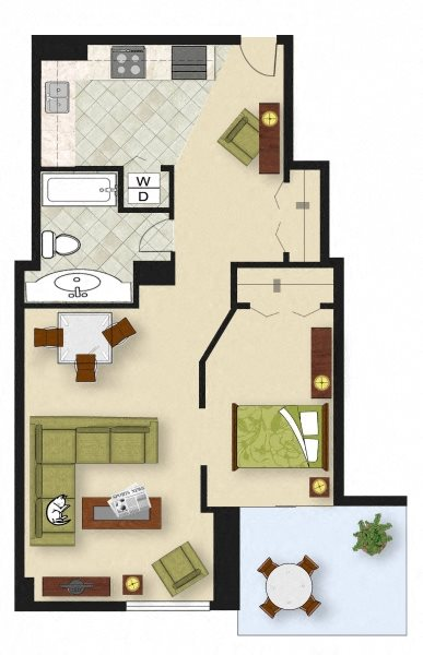 1 Bedroom A1 Floor Plan 2