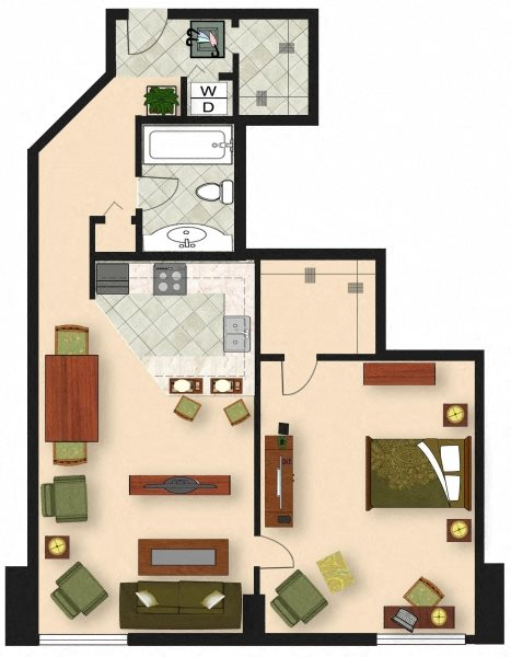 1 Bedroom A2 Floor Plan 3