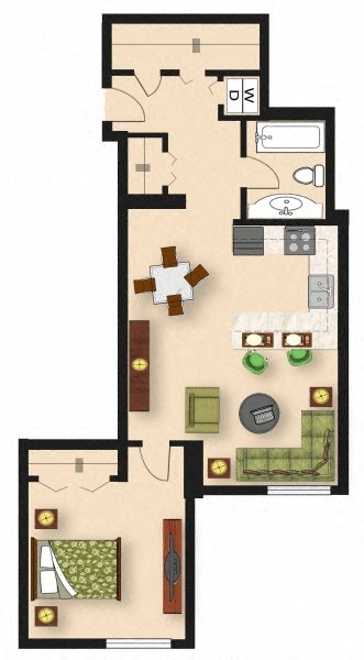 1 Bedroom A3 Floor Plan 4
