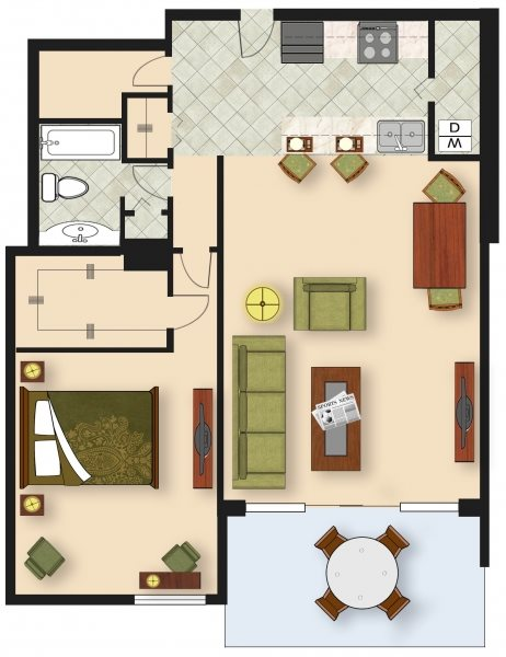 1 Bedroom A4 Floor Plan 5
