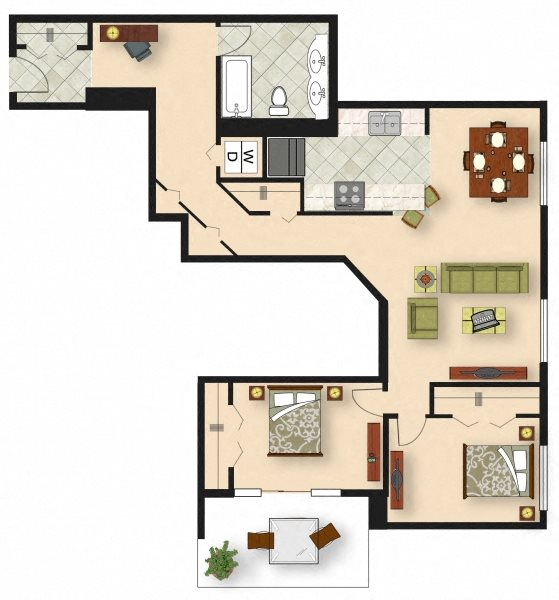 2 Bedroom B1 Floor Plan 7