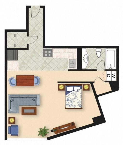 Studio E1 Floor Plan 1