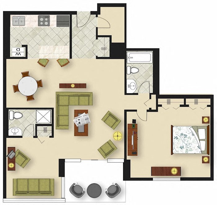 1 Bedroom A5 Floor Plan 6