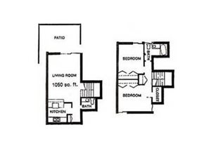 2BD, 1.5BTH TOWNHOME floor plan