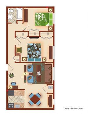 2 Bedroom Center