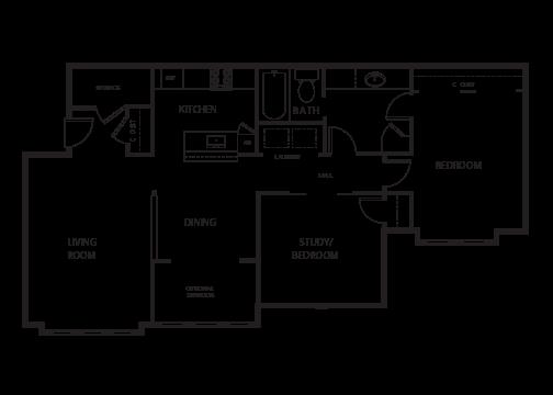 2 Bedroom | 1 Bath Floor Plan 3