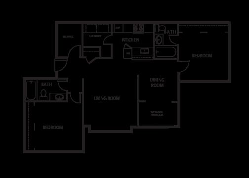 2 Bedroom | 2 Bath Floor Plan 4