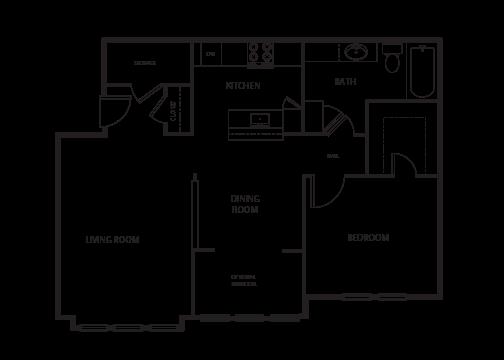 1 Bedroom | 1 Bath Floor Plan 2