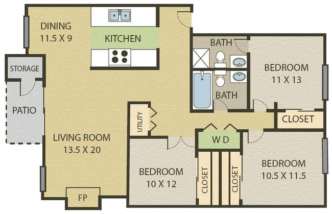 3 Bedroom   2 Bath Floor Plan 6