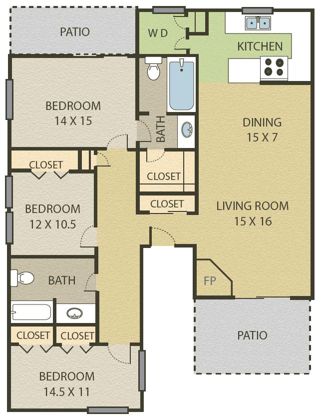 3 Bedroom   2 Bath Floor Plan 7