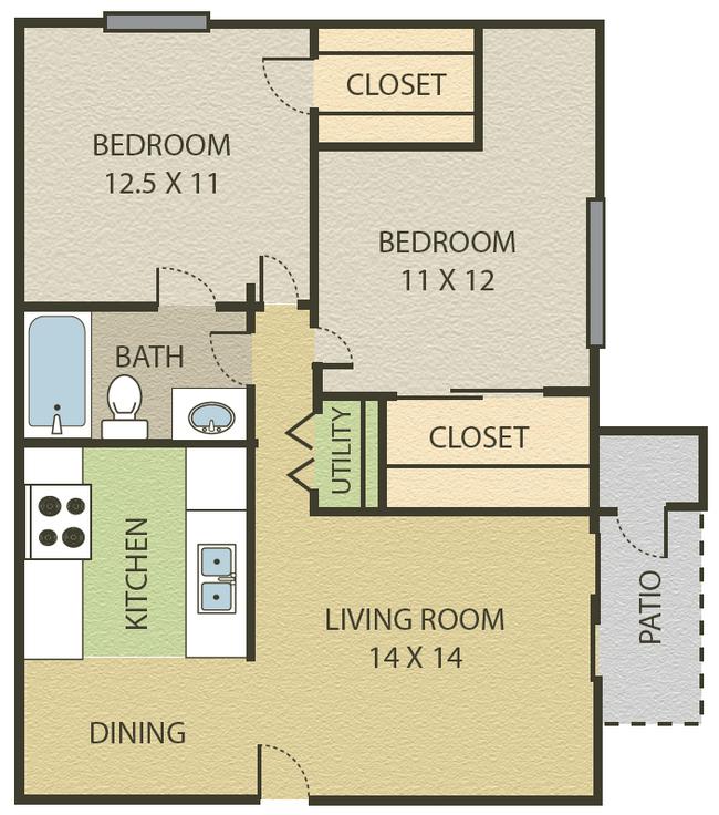 2 Bedroom   1 Bath Floor Plan 4