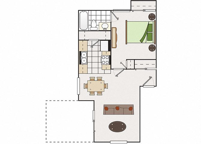 One bedroom floor plan l Park Brentwood CA Apartments for rent