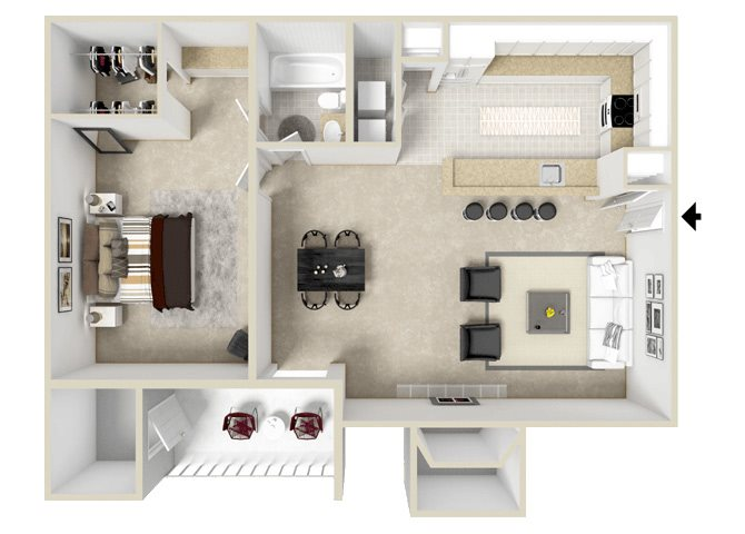 Axis Floorplan at Hampton Center Apartments in Hampton Virginia