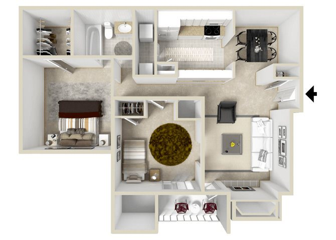 Metro Floorplan at Hampton Center Apartments in Hampton Virginia