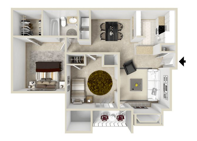 Compass Floorplan at Hampton Center Apartments in Hampton Virginia