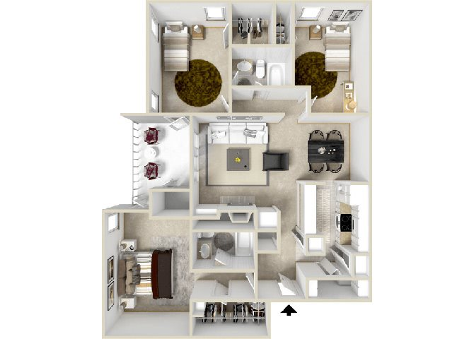 Zen Floorplan at Hampton Center Apartments Hampton Virginia