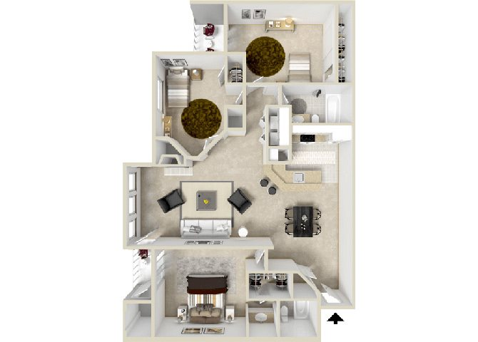 Verge Floorplan at Hampton Center Apartments in Hampton Virginia