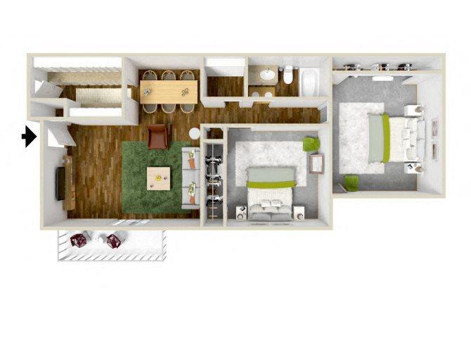 the Two Bedroom floor plan