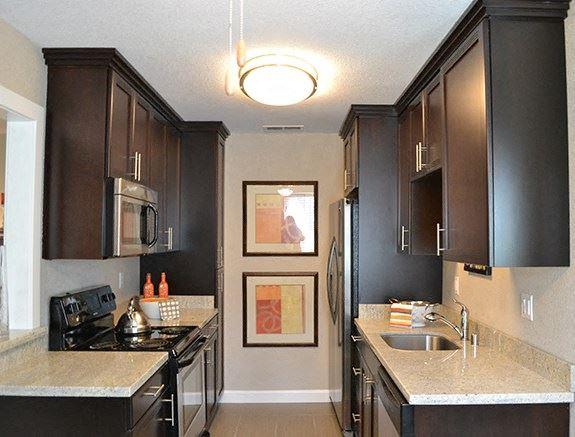 Kitchen with appliances  Sacramento 95825 Ca Apt Rentals Montecito Villas