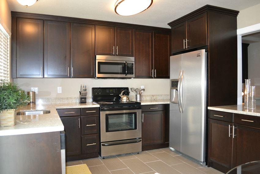 Kitchen with appliances  Rentals at Montecito Villas in Sacramento CA