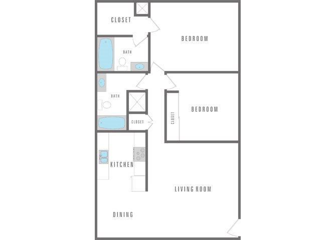 2 Bedroom 2 Bath Floor Plan 2