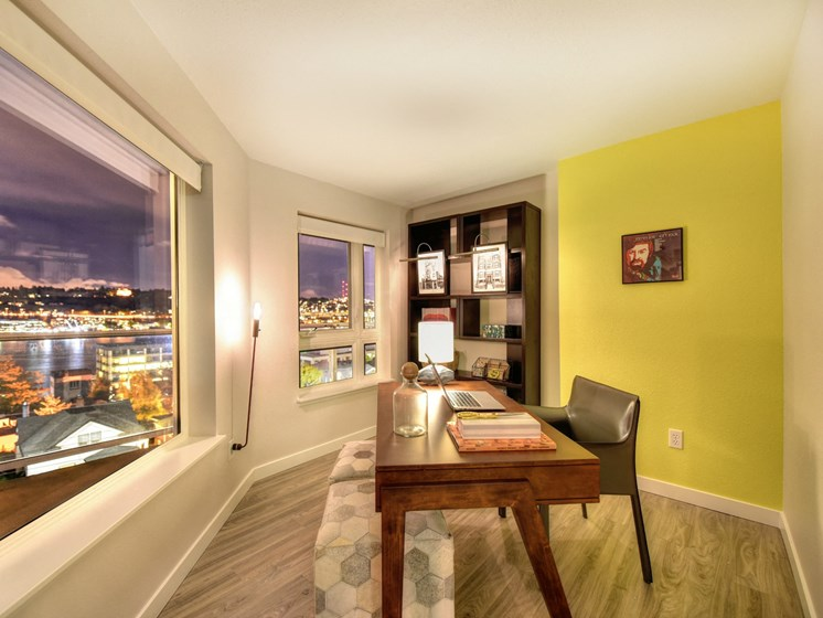 Luxury Apartment Community Dining or Office Area with View of Night Sky