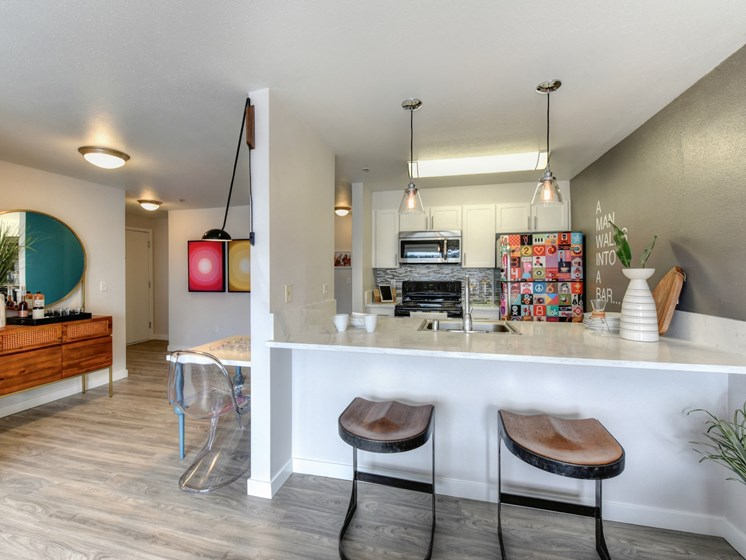 Luxury Apartment Community Kitchen and Bar Seating