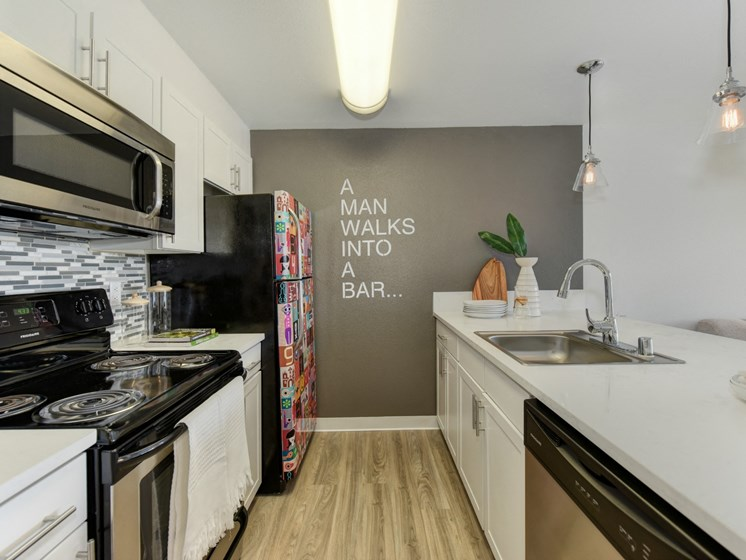Luxury Apartment Community Kitchen with Stainless Steel Appliances