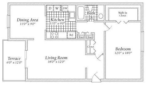 1 Bedroom A Floorplan at Fairway