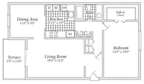 1 Bedroom Floorplan at Fairway