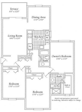 3 Bedroom A Floorplan at Fairway
