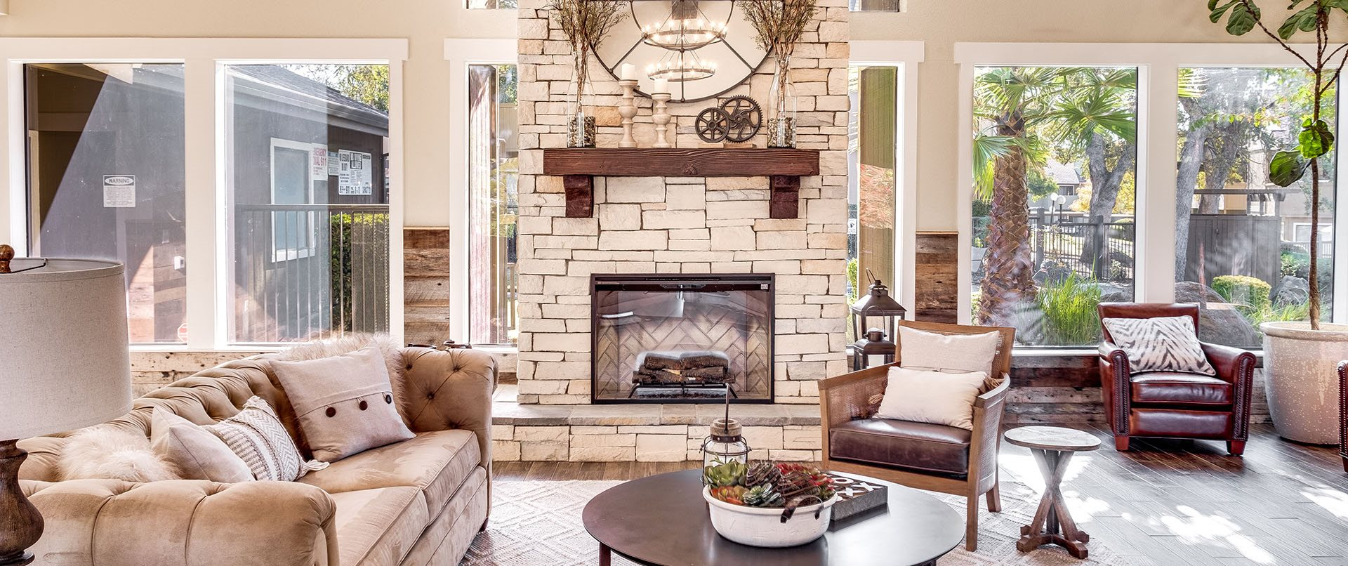 Clubhouse seating with fireplace l Sutter Ridge Apartments