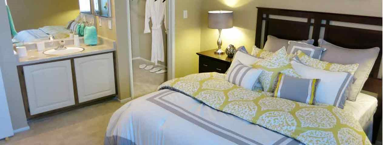 Furnished bedroom with closet  Sutter Ridge Apartments | Rocklin CA Apts For REnt
