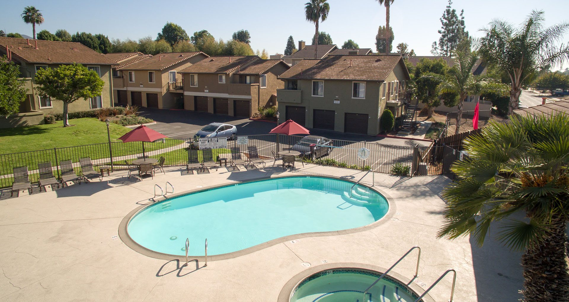 Pool view with Patio Furniture Vista California 92084 l Taylor Brook Apts for rent