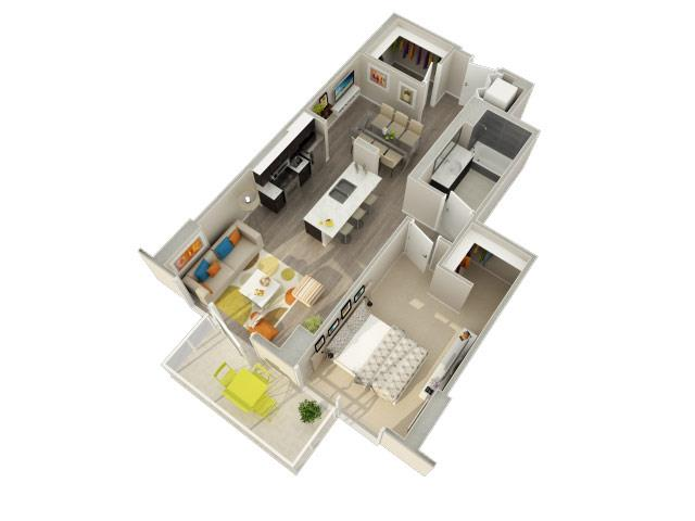 1 Bedroom 1 Bath C Floorplan at Catalyst, Chicago, IL, 60661