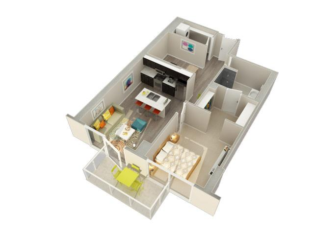 1 Bedroom 1 Bath A Floorplan at Catalyst