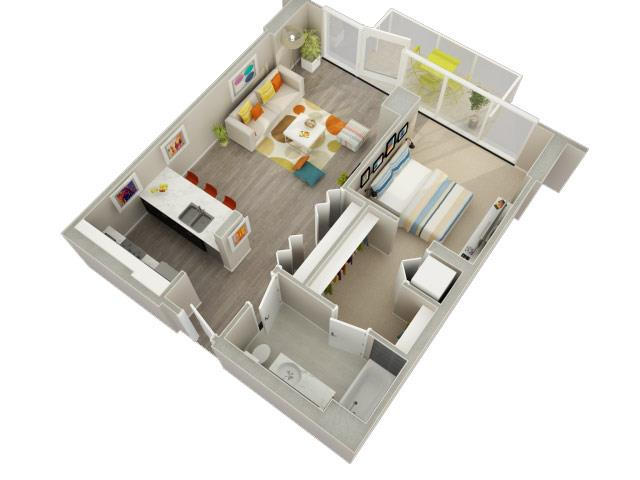 1 Bedroom 1 Bath (04 & 05) Floorplan at Catalyst, Chicago, IL, 60661