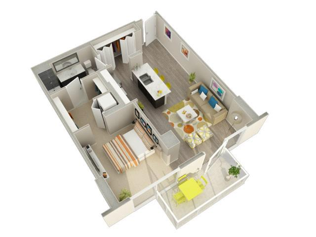 1 Bedroom 1 Bath (06 & 07) Floorplan at Catalyst, Chicago, IL, 60661