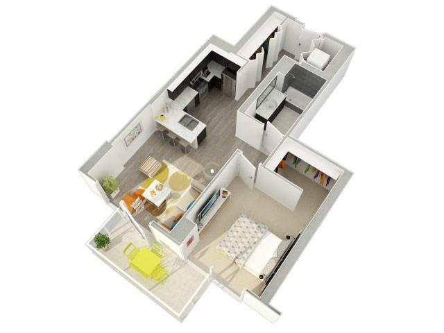 1 Bedroom 1 Bath (12) Floorplan at Catalyst, Chicago, IL, 60661