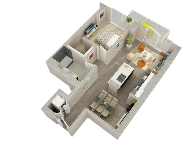 1 Bedroom 1 Bath B Floorplan at Catalyst