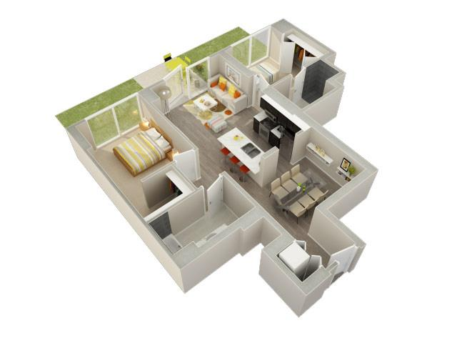2 Bedroom 2 Bath A Floorplan at Catalyst, Chicago, IL, 60661